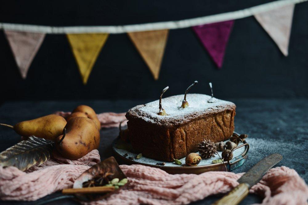 Fare Isle | Vegan Chai Spice Poached Pear Cake