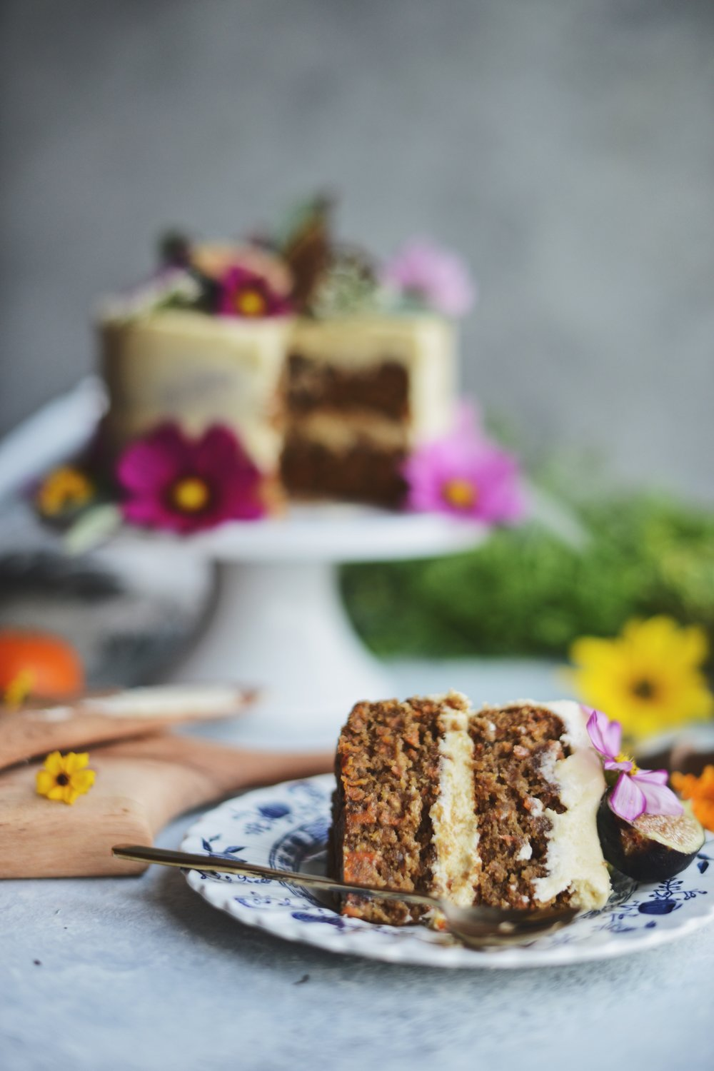 Fare Isle | Vegan Carrot Cake with Lemon Buttercream and Fresh Figs