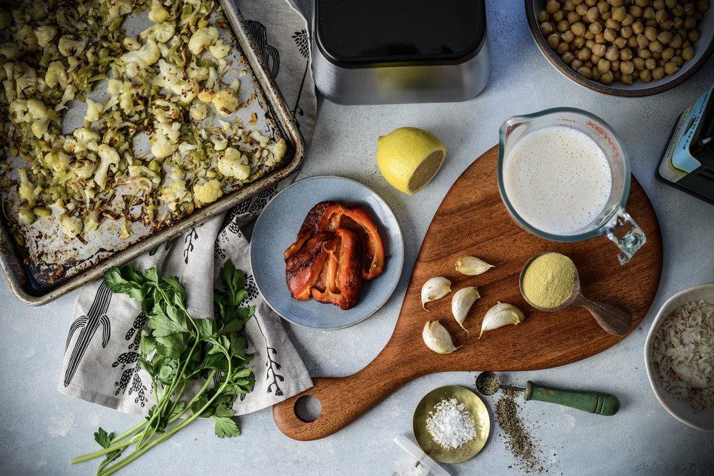 Creamy Roasted Cauliflower Leek & Chickpea Pasta - Vegan, GF option