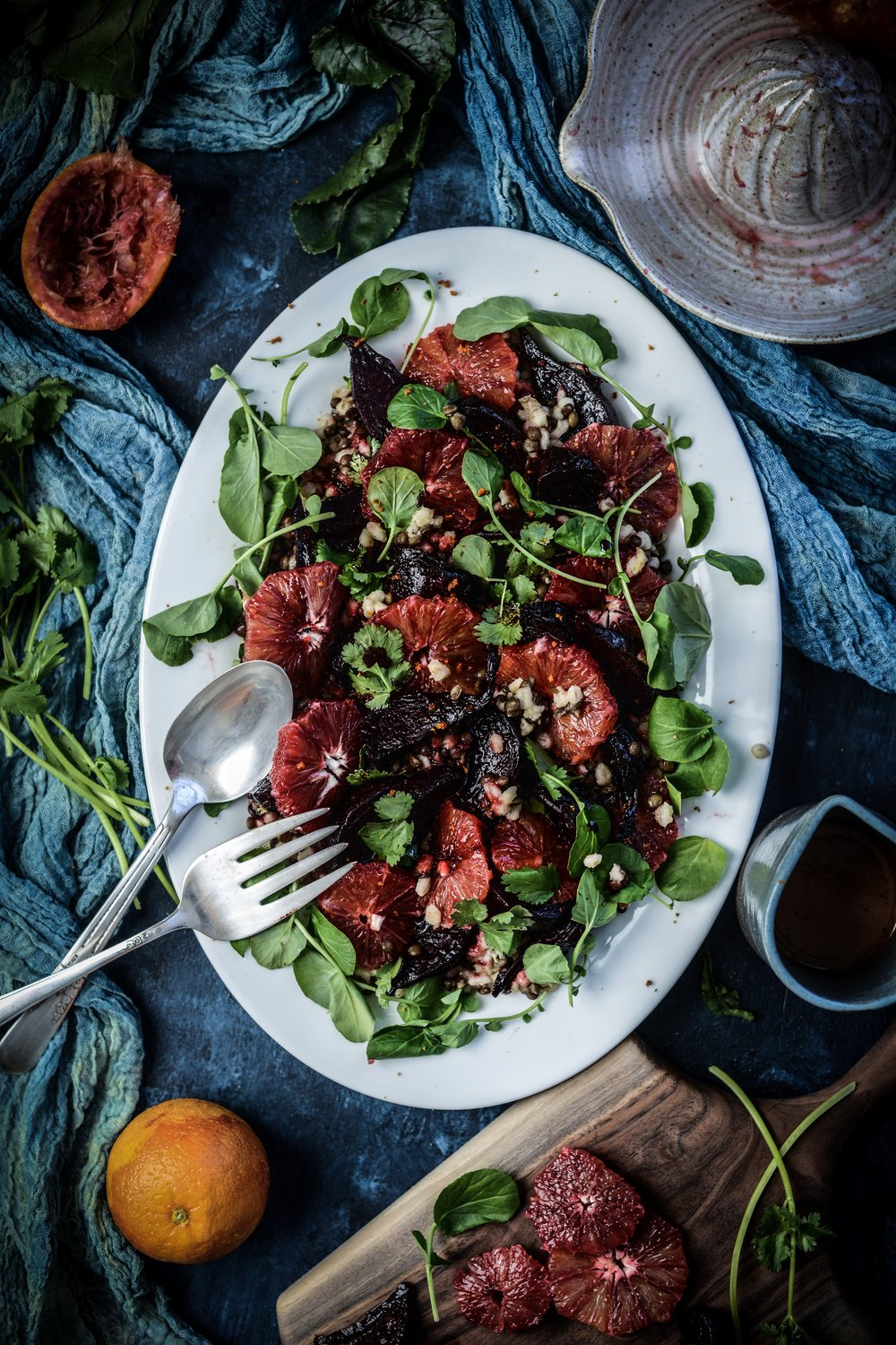 Fare Isle Recipe Blog | Blood Orange, Roasted Beet, Lentil & Barley Salad - Vegan