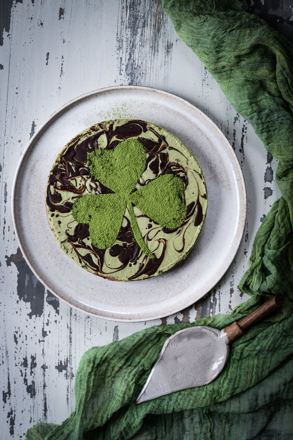 Fare Isle | St. Patrick's Day Vegan Matcha Cocoa Cashew Cheezecake with Hazelnut Cocoa Oat Cookie Crust
