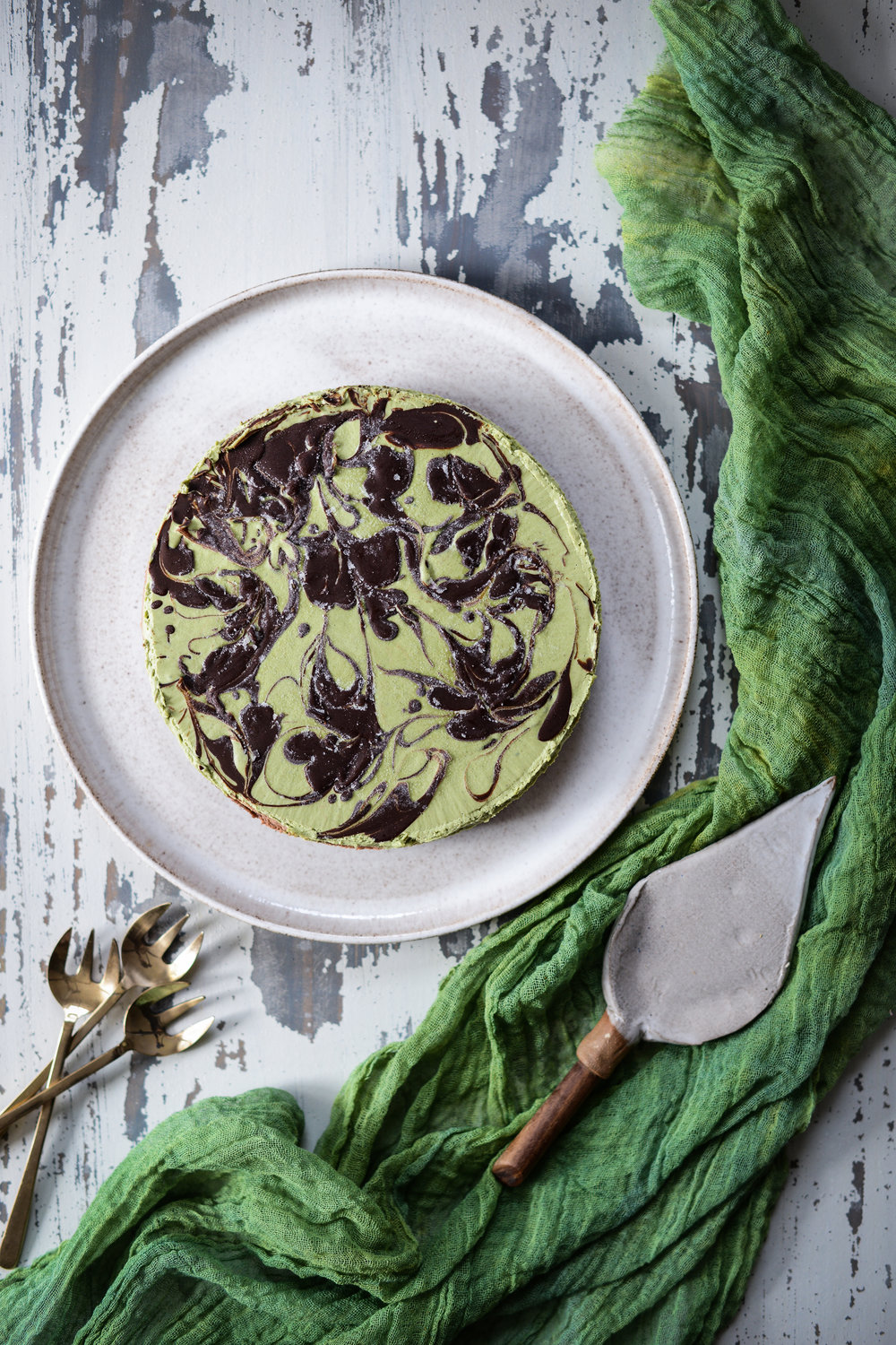 Fare Isle   Vegan Matcha Cocoa Cashew Cheezecake with Hazelnut Cocoa Oat Cookie Crust for St. Patrick's Day