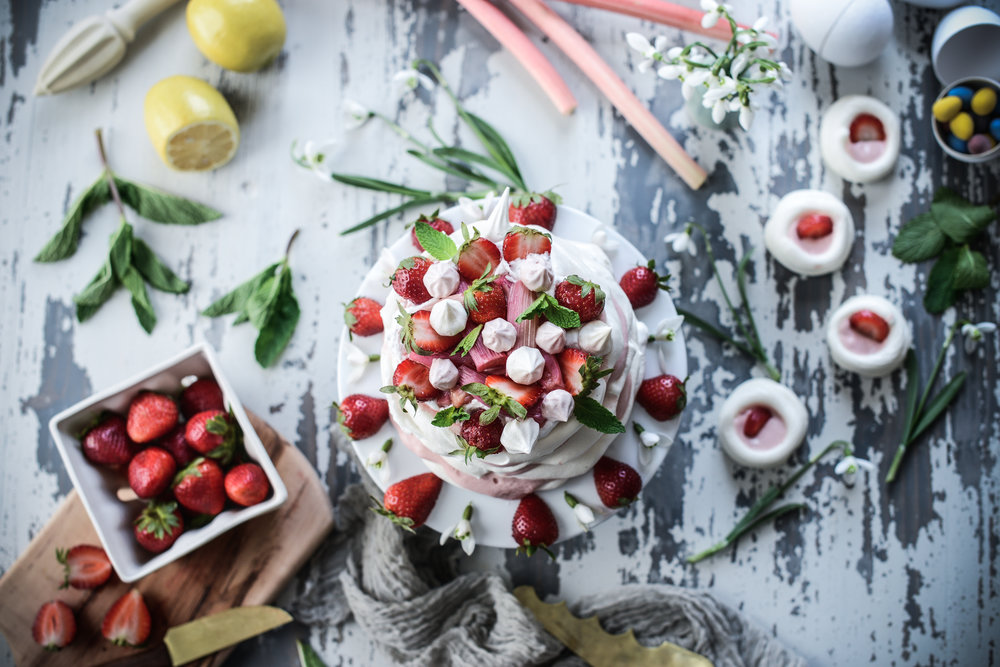 Fare Isle | Vegan Aquafaba Meringue and Rhubarb Curd Easter Cake (Pavlova)