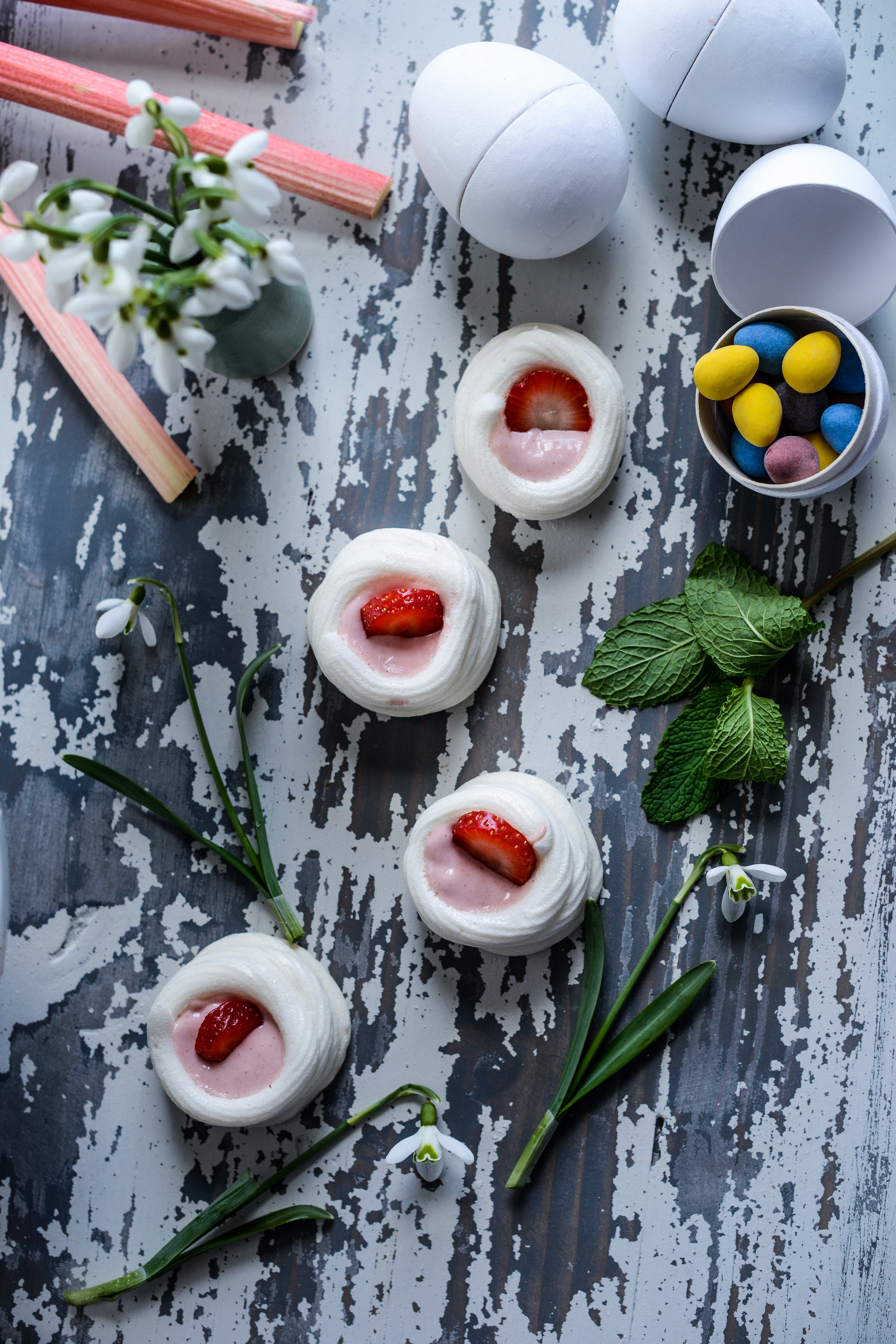 Fare Isle | Vegan Aquafaba Meringue and Rhubarb Curd Easter Cake (Pavlova)