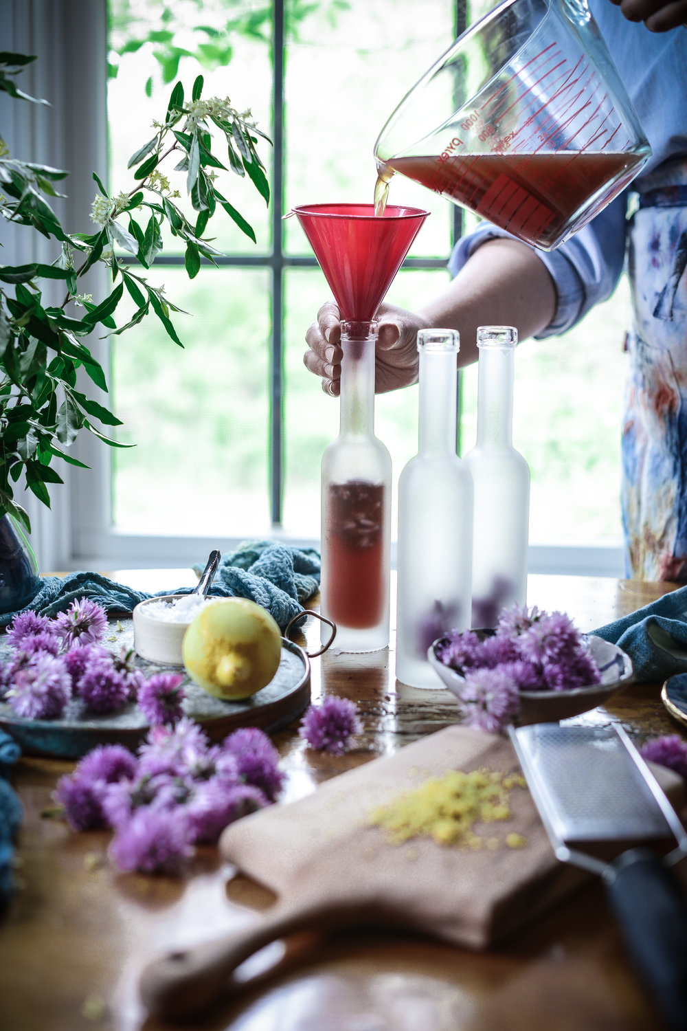 Fare Isle   3 Ways to Use Edible Chive Blossoms: Chive Blossom Vinegar, Finishing Salt & Cultured Cashew Cheese
