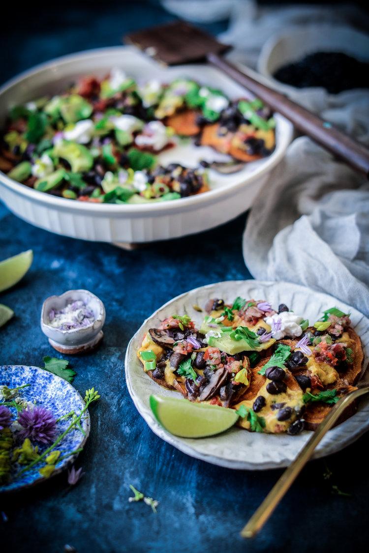 Fare Isle   Vegan Black Bean Sweet Potato Nachos + The Natural Colors Cookbook by Maggie Pate