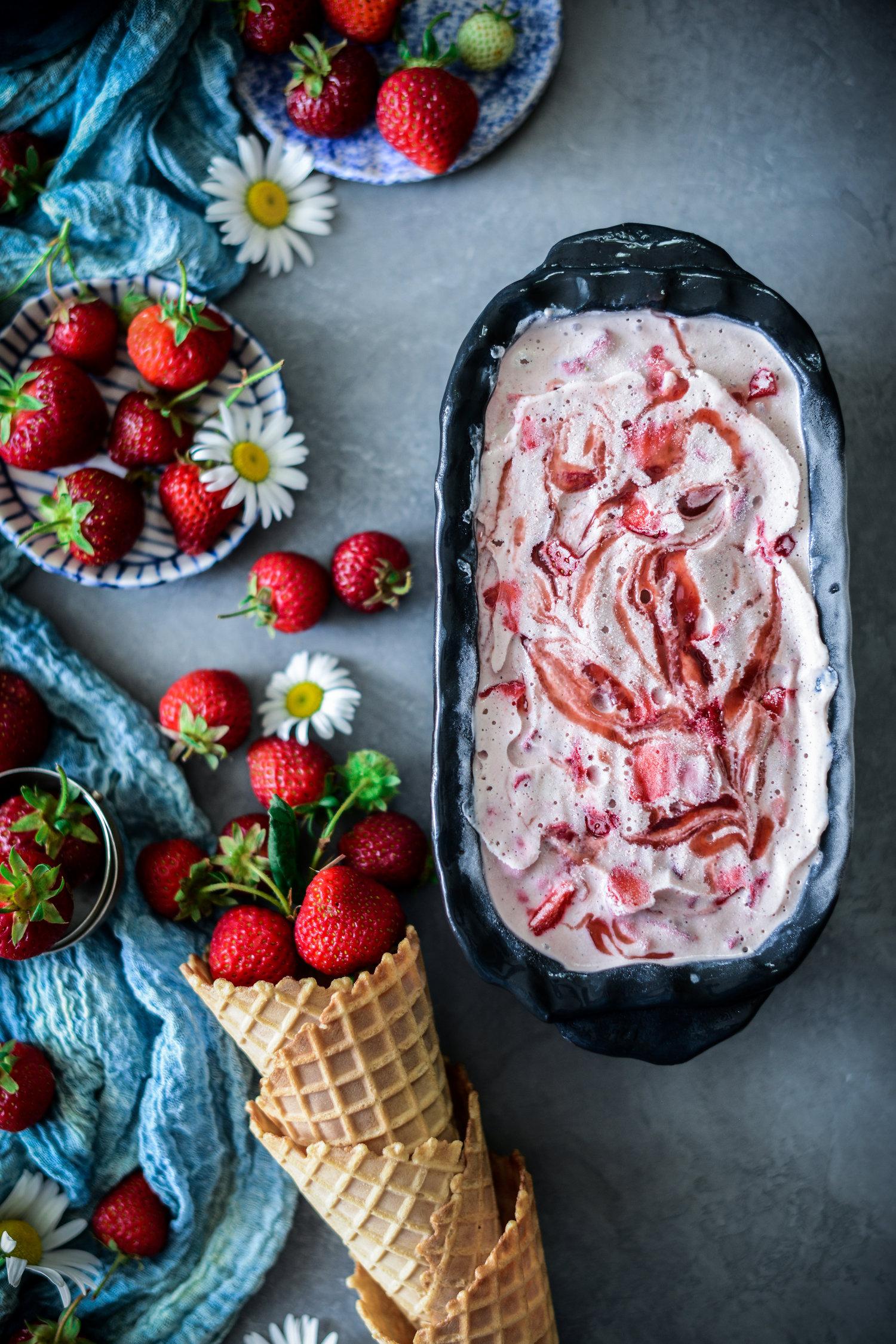 Fare Isle | Vegan Strawberry Coconut Milk Ice-Cream with Strawberry Jam Ripple