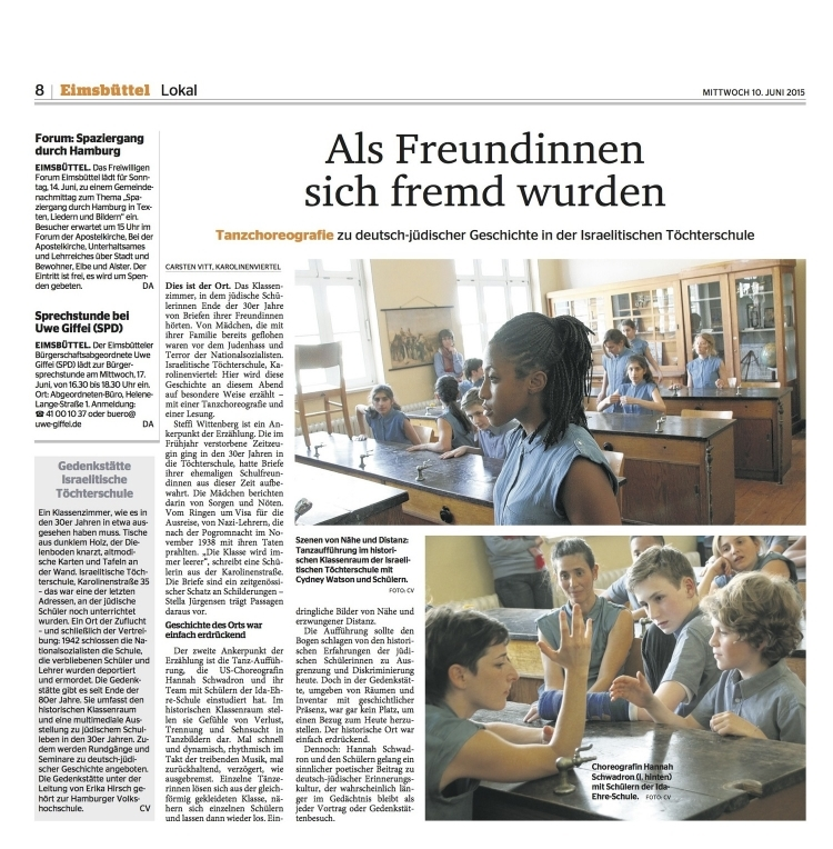 Public Performances of Klasse: Getanzte Zeitspuren (Class: Danced Traces in Time) with students at the Ida Ehre Schule make local news in Hamburg, Germany.