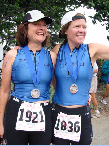 Saci joined Nancy in her triathlon