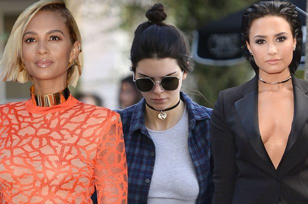 The 90's are back!  One of the top trends this year has been the choker.  From metal to velvet  to leather, no matter the texture we have seen them on everyone!