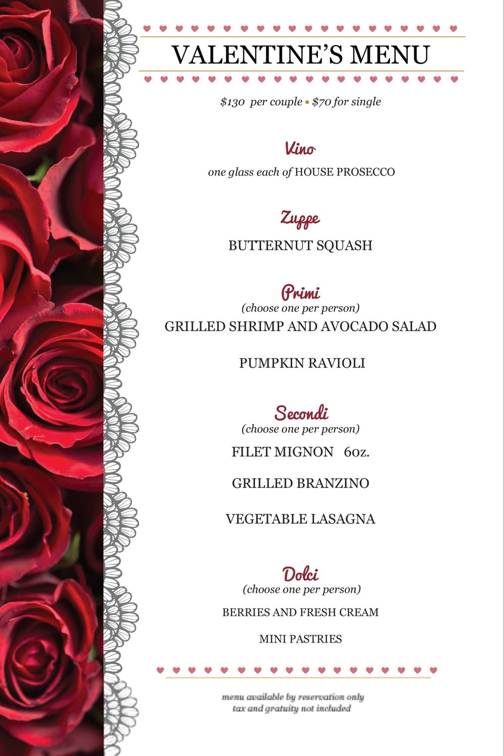 Treat your loved one (or yourself) to a romantic dinner with us. - Deposit required for reservations. Call 212-721-0068 or reserve a seat on OpenTable.