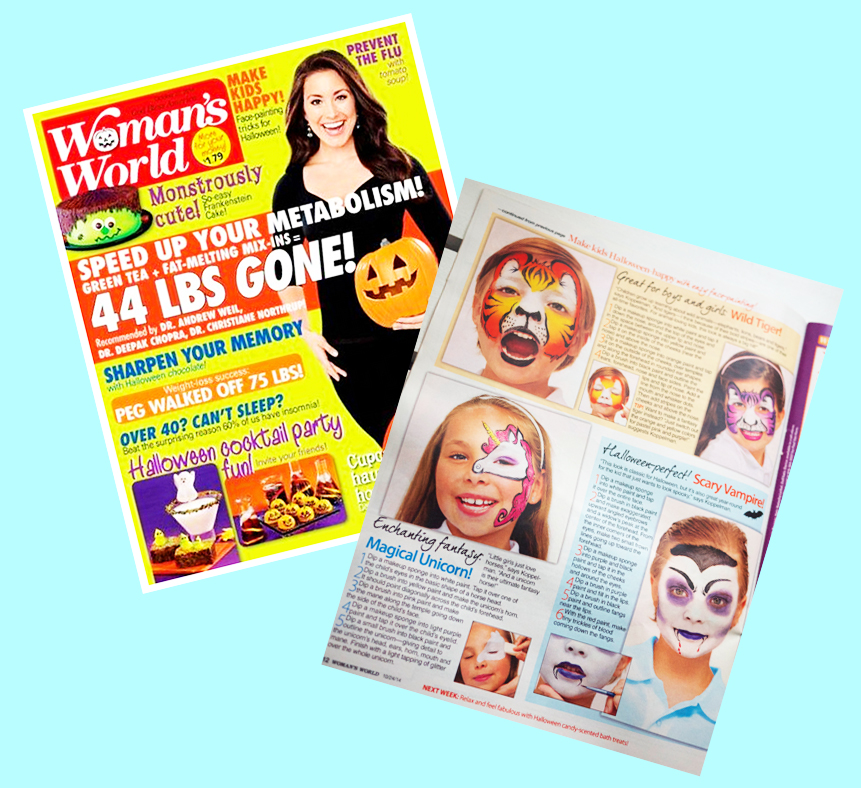 "Lenore Koppelman as ""The Cheeky Chipmunk"" was featured in the Halloween edition of Woman's World in 2014."