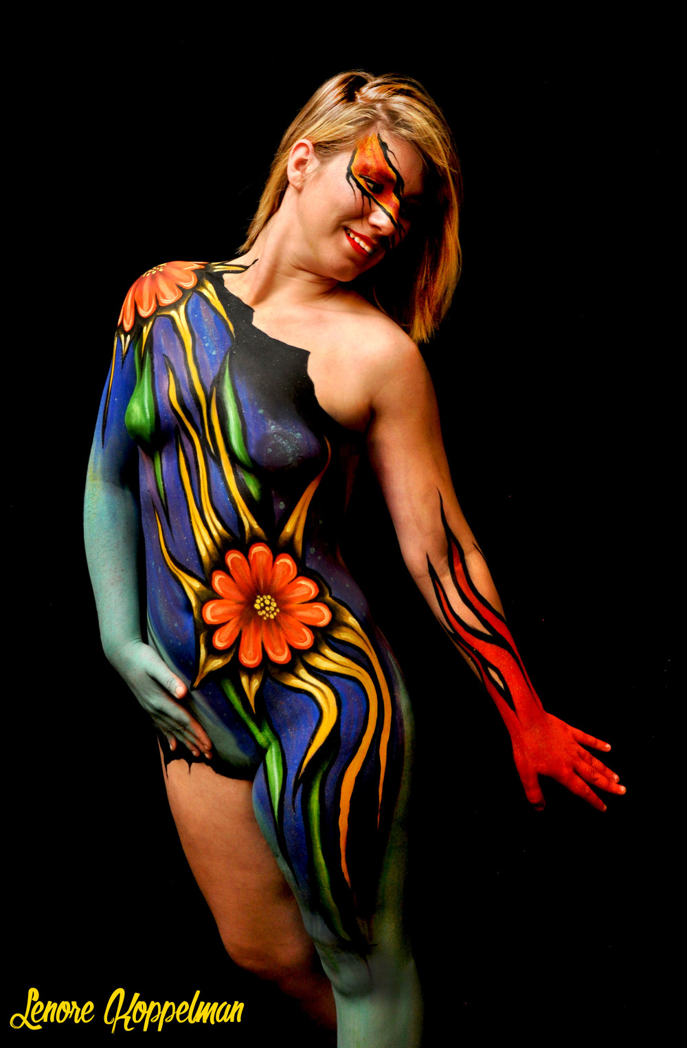 Body painting by Lenore Koppelman. Photography and mentoring by Mark Reid. 2015.
