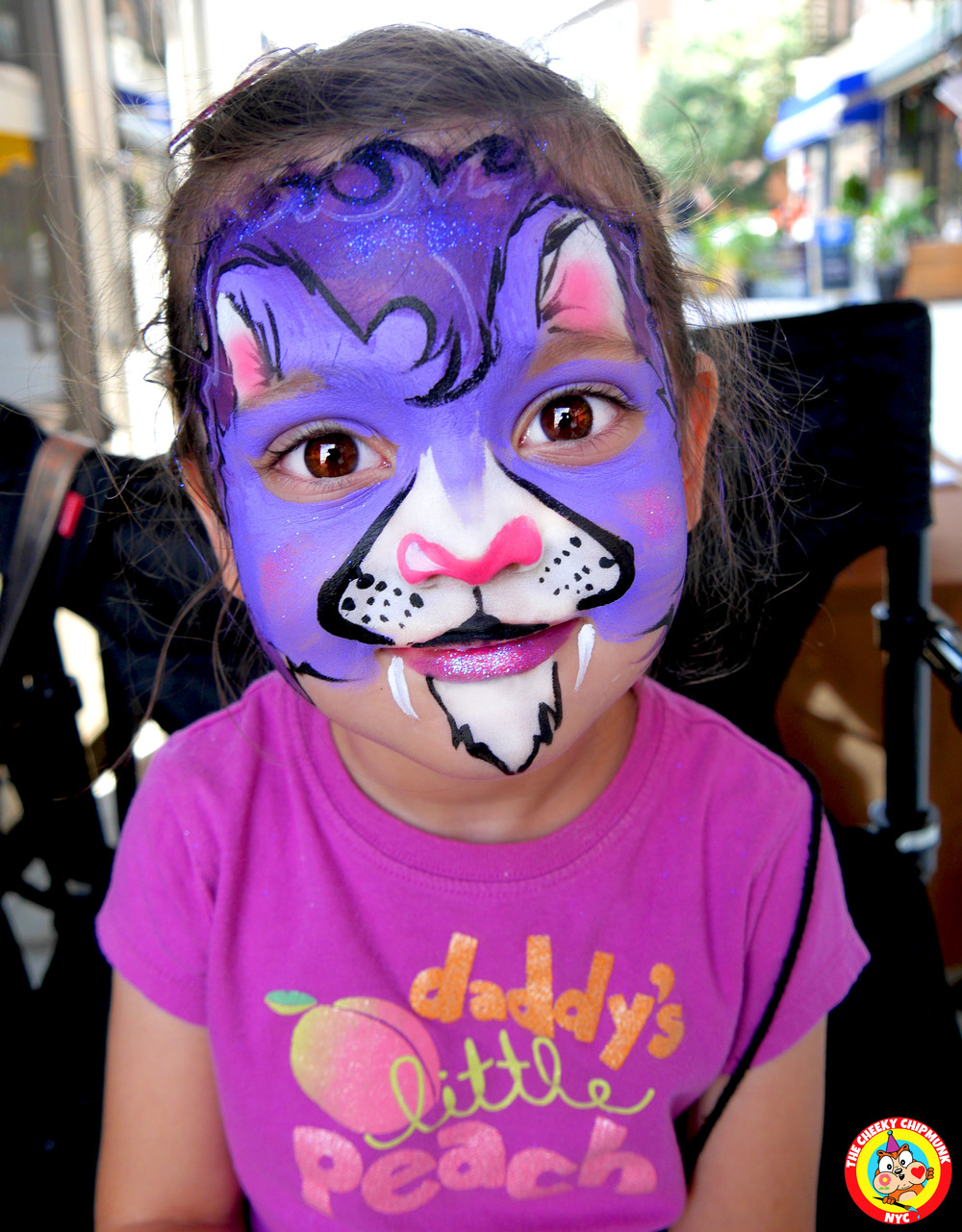 "Purple Lion face painting by Lenore Koppelman aka ""The Cheeky Chipmunk"" in NYC"