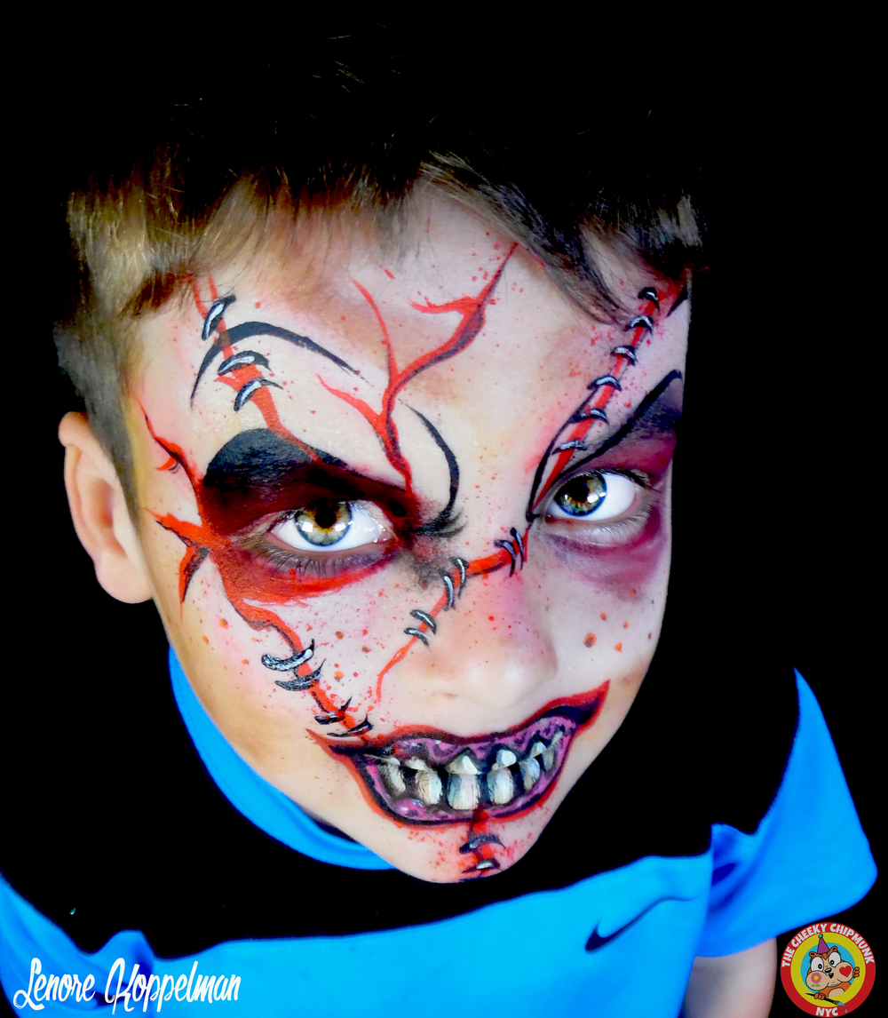 "Baseball Monster face painting by Lenore Koppelman aka ""The Cheeky Chipmunk"" in NYC"