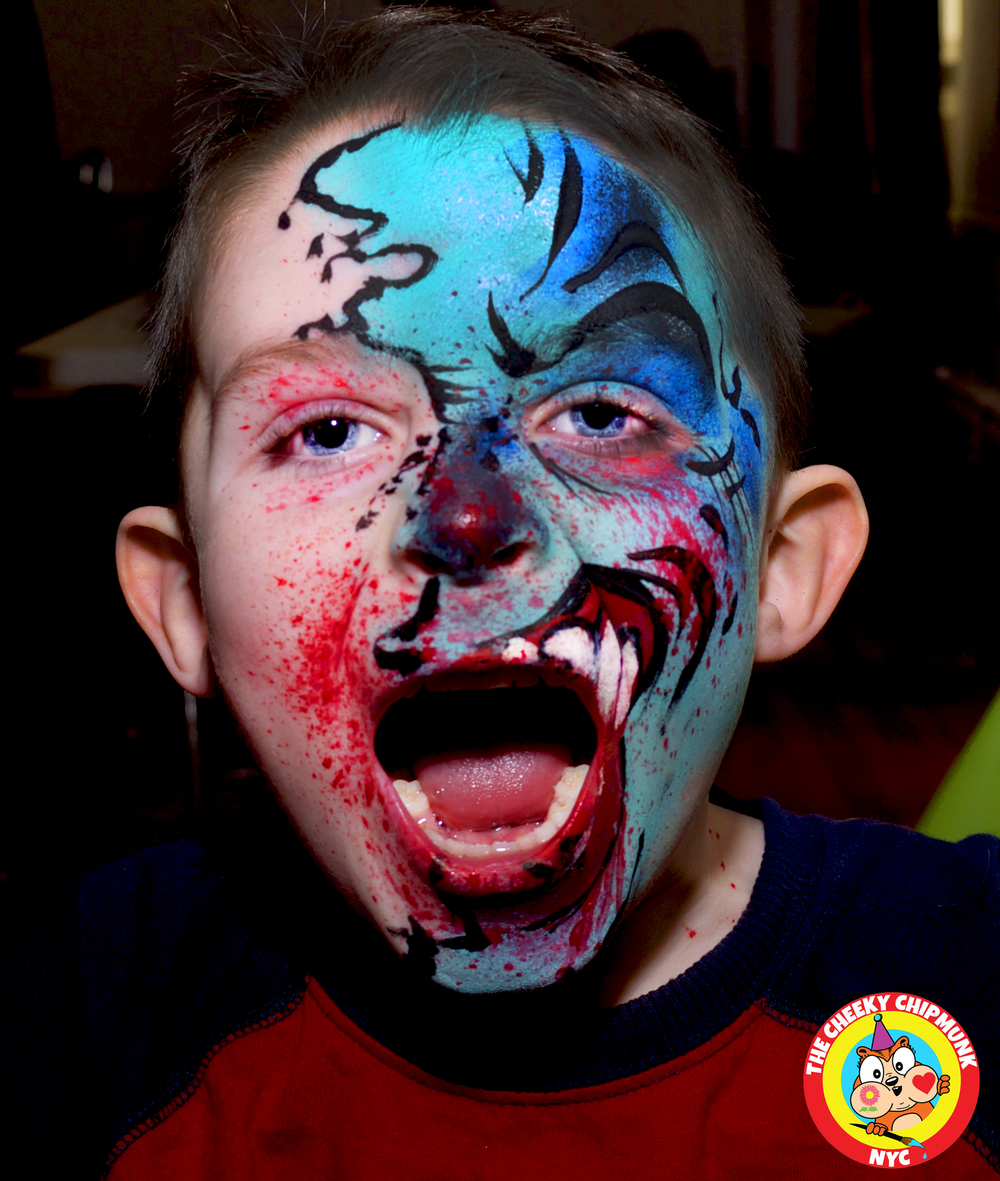 "Zombie boy face painting by Lenore Koppelman aka ""The Cheeky Chipmunk"" in NYC"