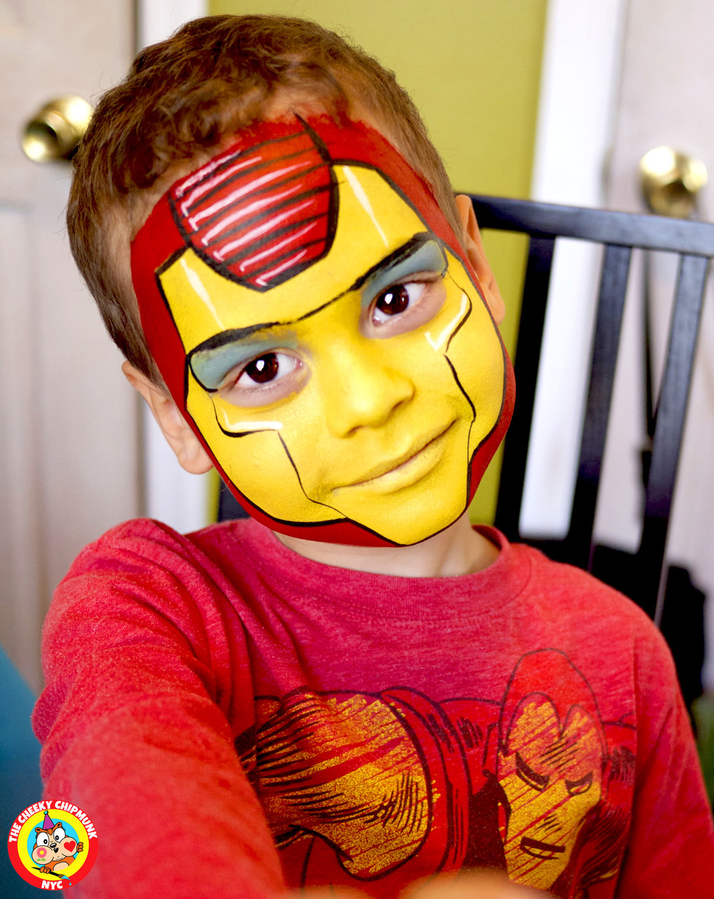 "Iron Man face painting by Lenore Koppelman aka ""The Cheeky Chipmunk"" in NYC"