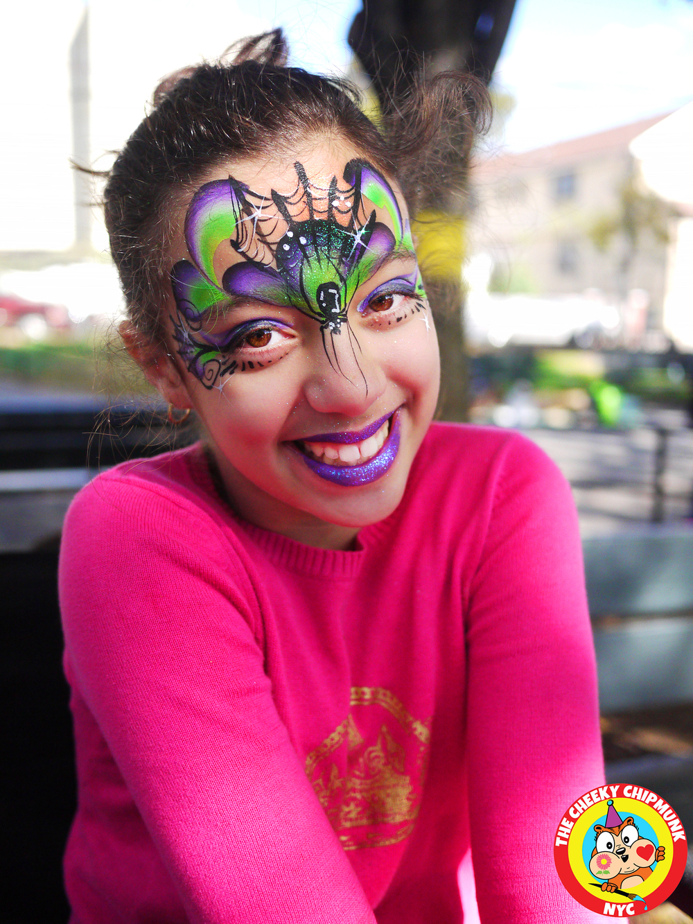 "Spider Queen face painting by Lenore Koppelman aka ""The Cheeky Chipmunk"" in NYC"