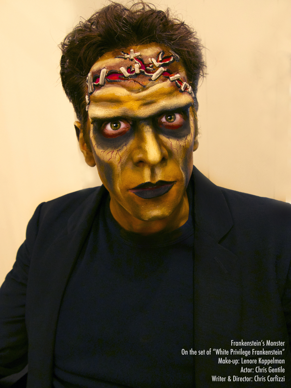 "NYC actor Chris Gentile is ""White Privilege Frankenstein""! Makeup by Lenore Koppelman, aka The Cheeky Chipmunk."