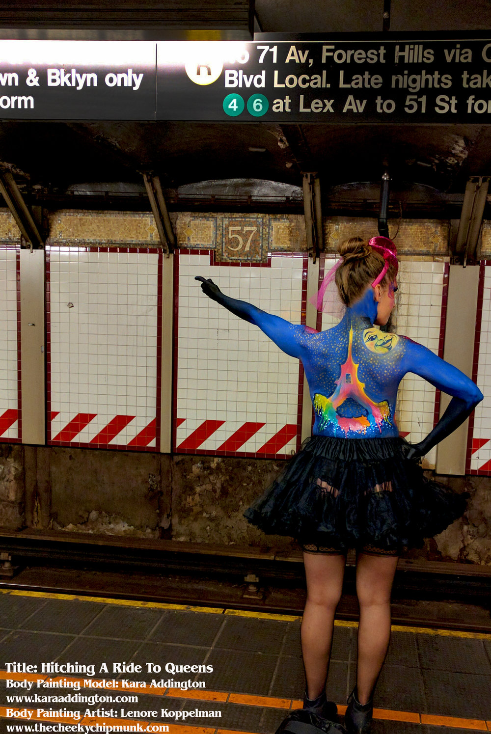 kara addington moulin rouge subway hitchhiking to queens 2 bound train.jpg