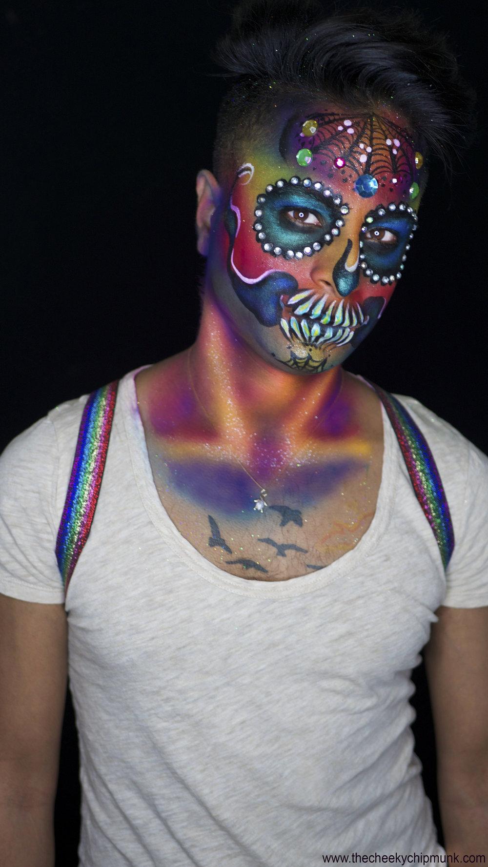 Marcus gay pride rainbow sugar skull.jpg