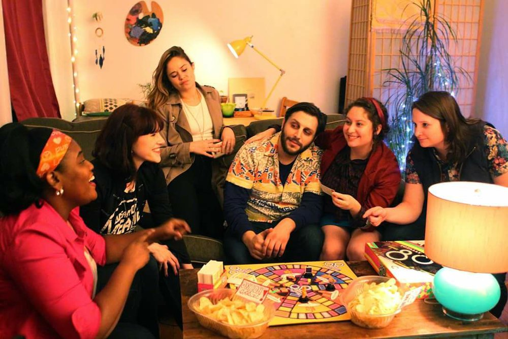 Cast members from left to right: Latisha Di Venuto (Girls on HBO), Amanda Brittany Goodman (Broad City on Comedy Central), Teegan Curitz, Philip Casale and Lyssa Mandel (The Bitch Seat, featured on This American Life), and Jen Keefe.
