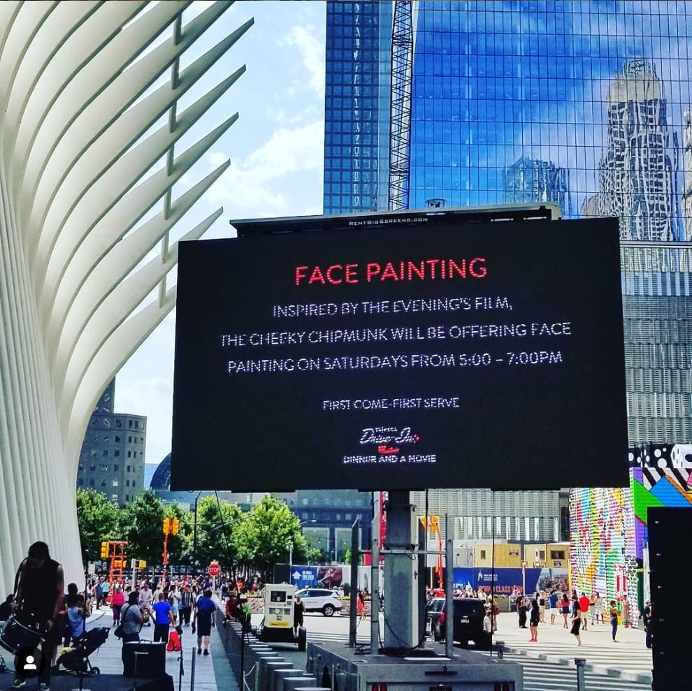 face painting at the world trade center at the oculus plaza, nyc.