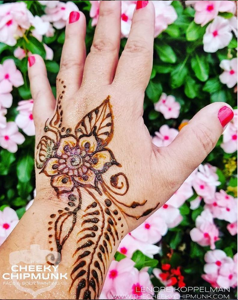 lenore-koppelman-the-cheeky-chipmunk-henna-flower-pink-flowers-leaves-organic-natural-brown-red-henna-nyc