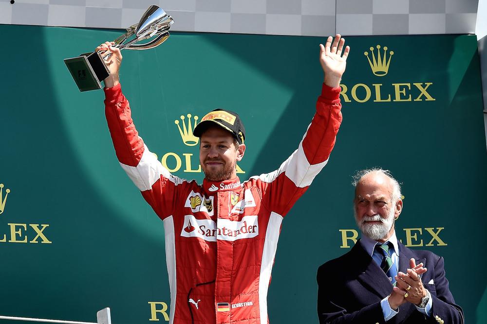 Sebastian Vettel on the Podium