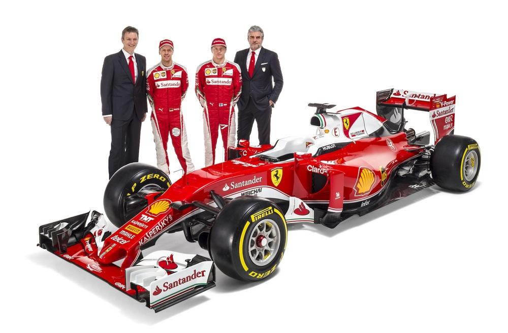 James Allison,Sebastian Vettel,Kimi Raikkonen, and Maurizio Arrivabene,