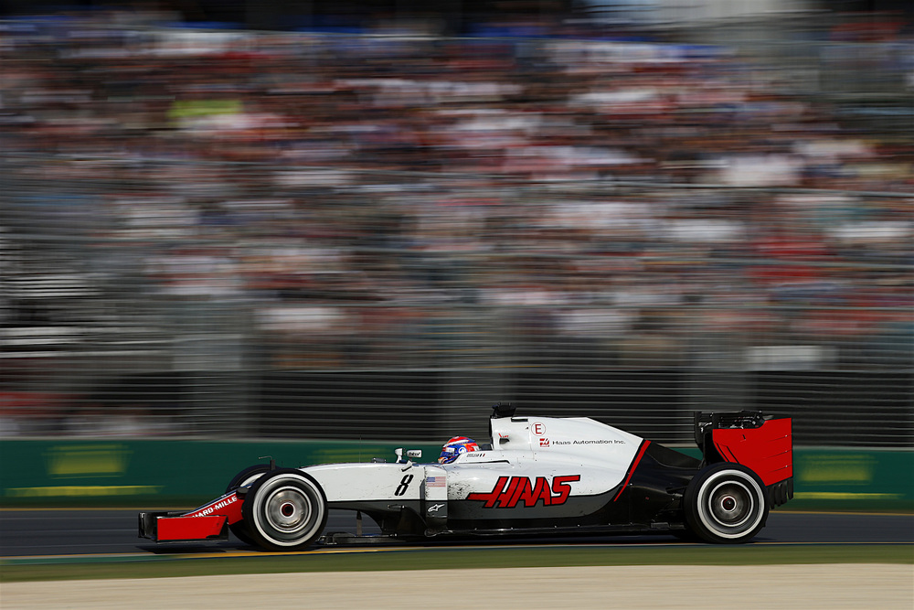 Romain Grosjean in his Haas VF-16 at speed at Melbourne