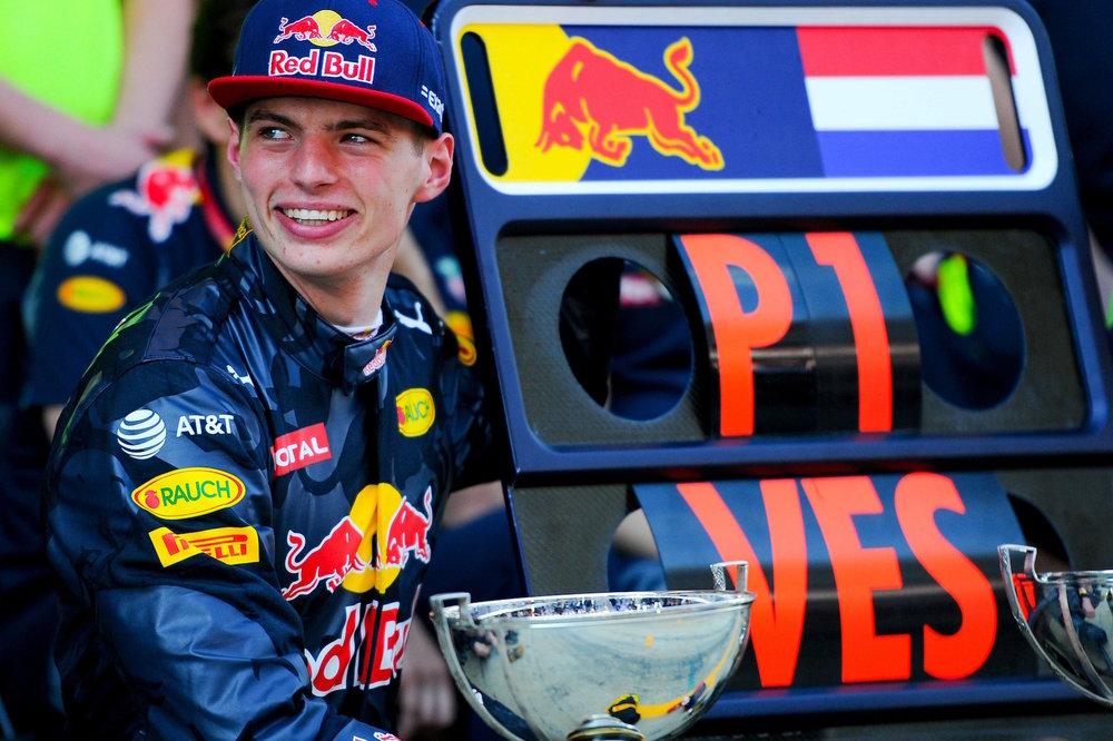Max Verstappen celebrating win at Spain 2016
