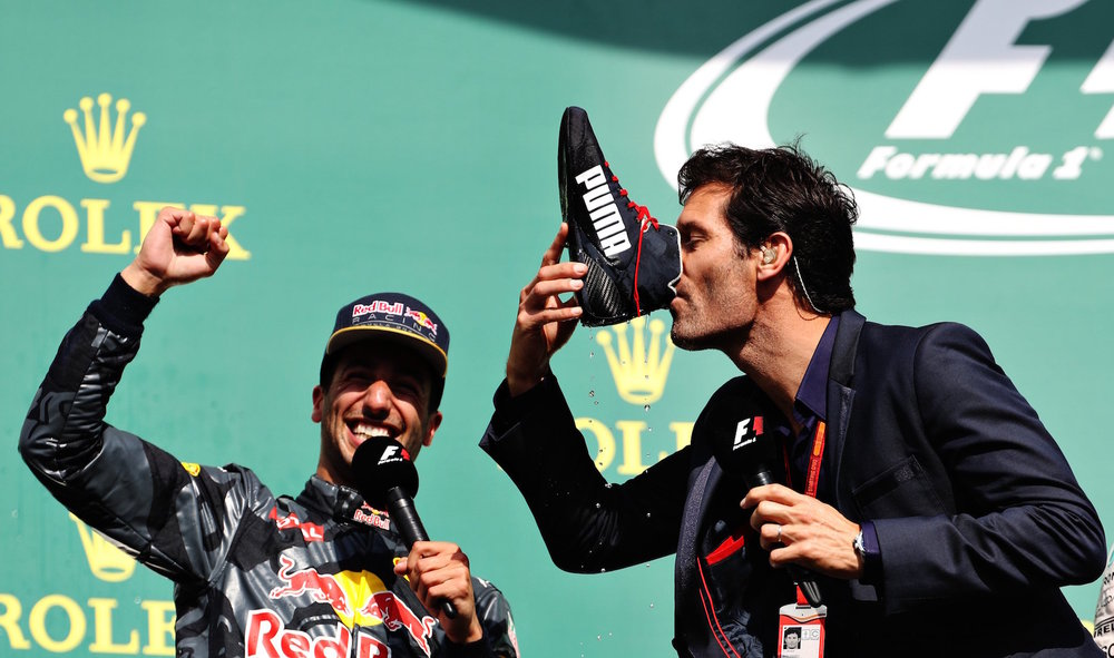 Salracing - Mark Webber drinking champagne from Daniel Ricciardo's shoe