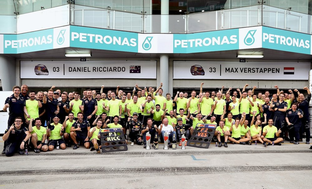 Salracing - Red Bull Racing Team celebrating 1 2 at Malaysia