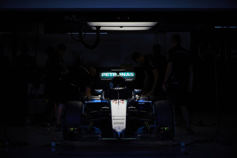 A 2016 Lewis Hamiltons Mercedes W07 in garage | 2016 USGP copy.jpg