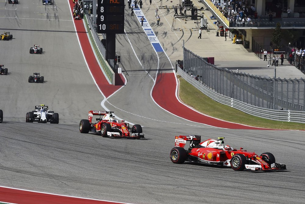 F 2016 Ferrari duo at COTA 2016 USGP P4 and DNF copy.jpg