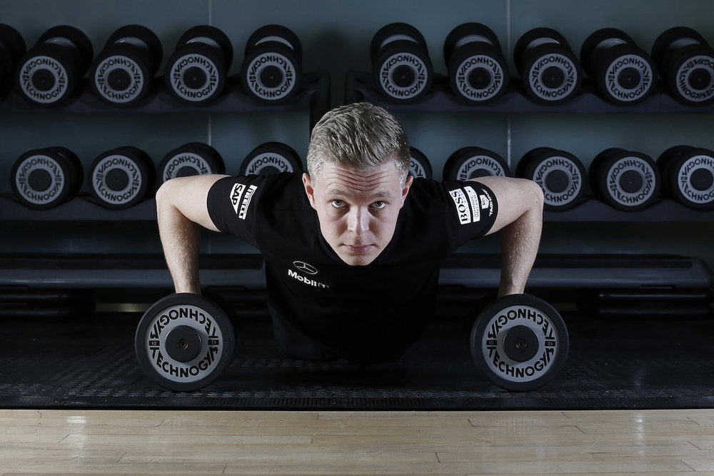 Kevin Magnussen exercising