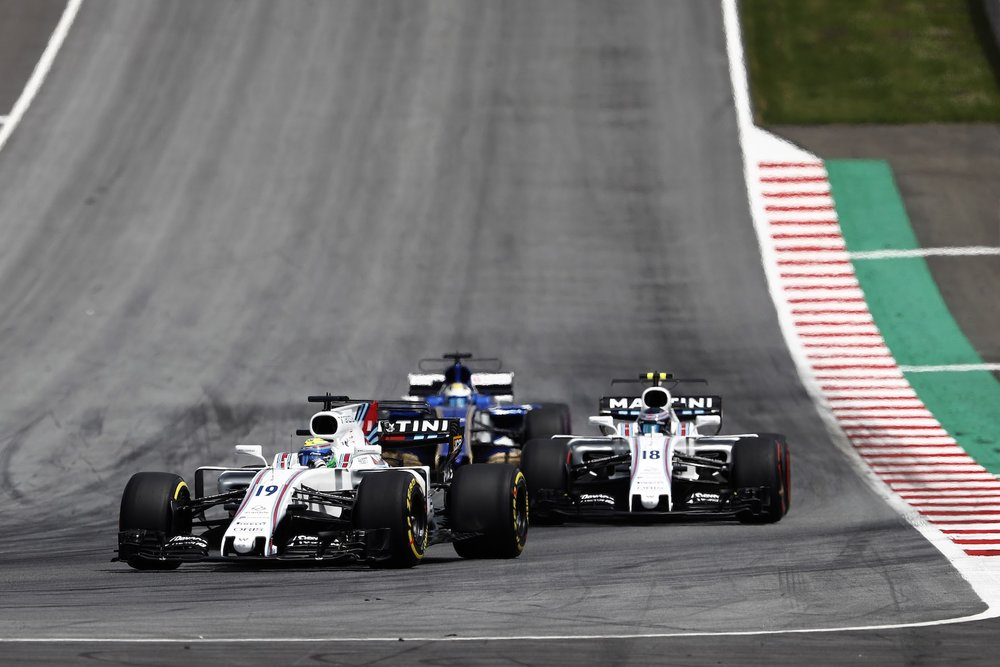 D 2017 Felipe Massa, Williams FW40 Mercedes, leads Lance Stroll, Williams FW40 Mercedes, and Marcus Ericsson, Sauber C36 | 2017 Austrian GP copy.jpg