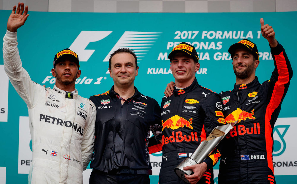 X 2017 Malaysia GP podium Lewis Hamilton, Dan Fallows (Chief Aerodynamics Engineer of Red Bull Racing), Max Verstappen, and Daniel Ricciardo on the podium at Sepang 2017 Photo by Lars Baron:Getty Images copy.jpg