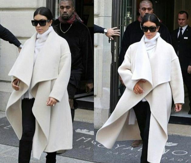 Long White Wool Coat