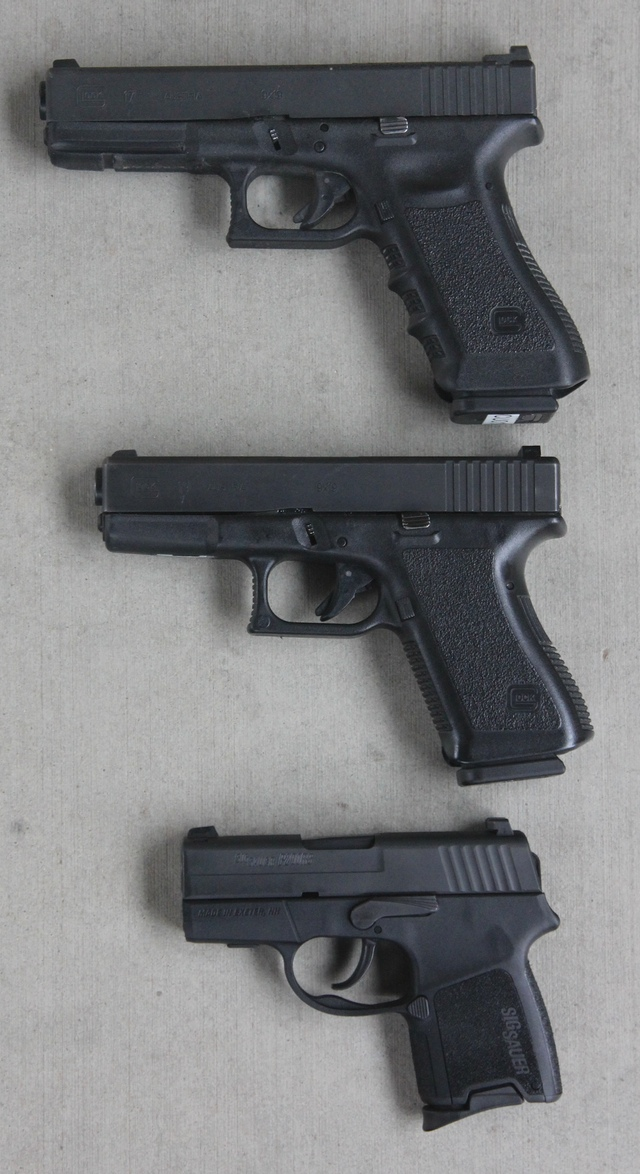 Top to bottom: Full size (Glock 17), Compact (Glock 19) Subcompact (SIG P290)