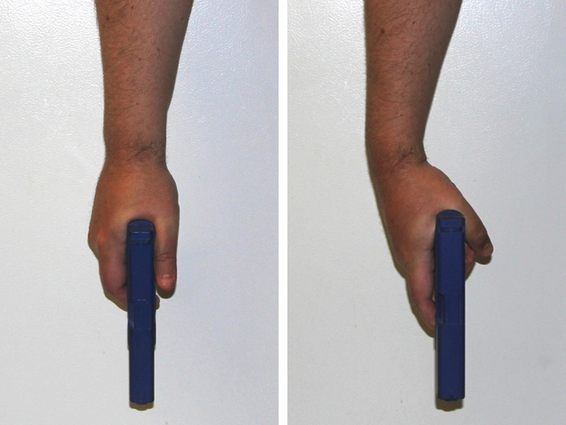 Proper grip (left) compared to an improper grip caused by excessive trigger reach (right)