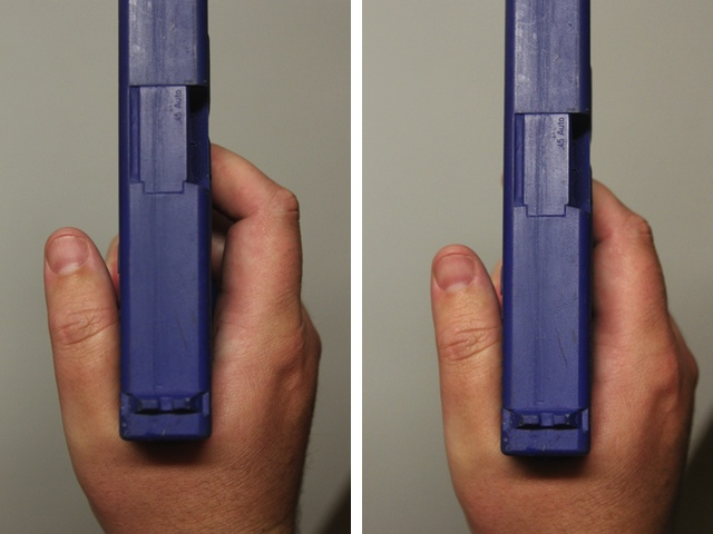 Gap between trigger finger and frame (left) versus no gap (right)