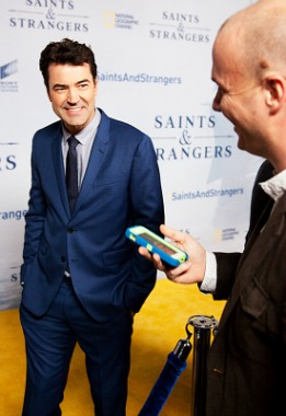 "Actor Ron Livingston (""Office Space,"" ""Band of Brothers"") about to interview with Kevin Ott at the world premiere of National Geographic's ""Saints & Strangers"" at the Saban Theatre in Beverly Hills (Nov. 9, 2015). Photo credit: Gerald Pierre."