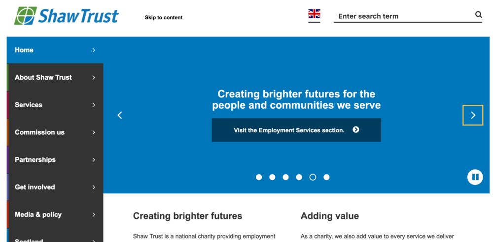 Shaw Trust website, promoting Bright futures