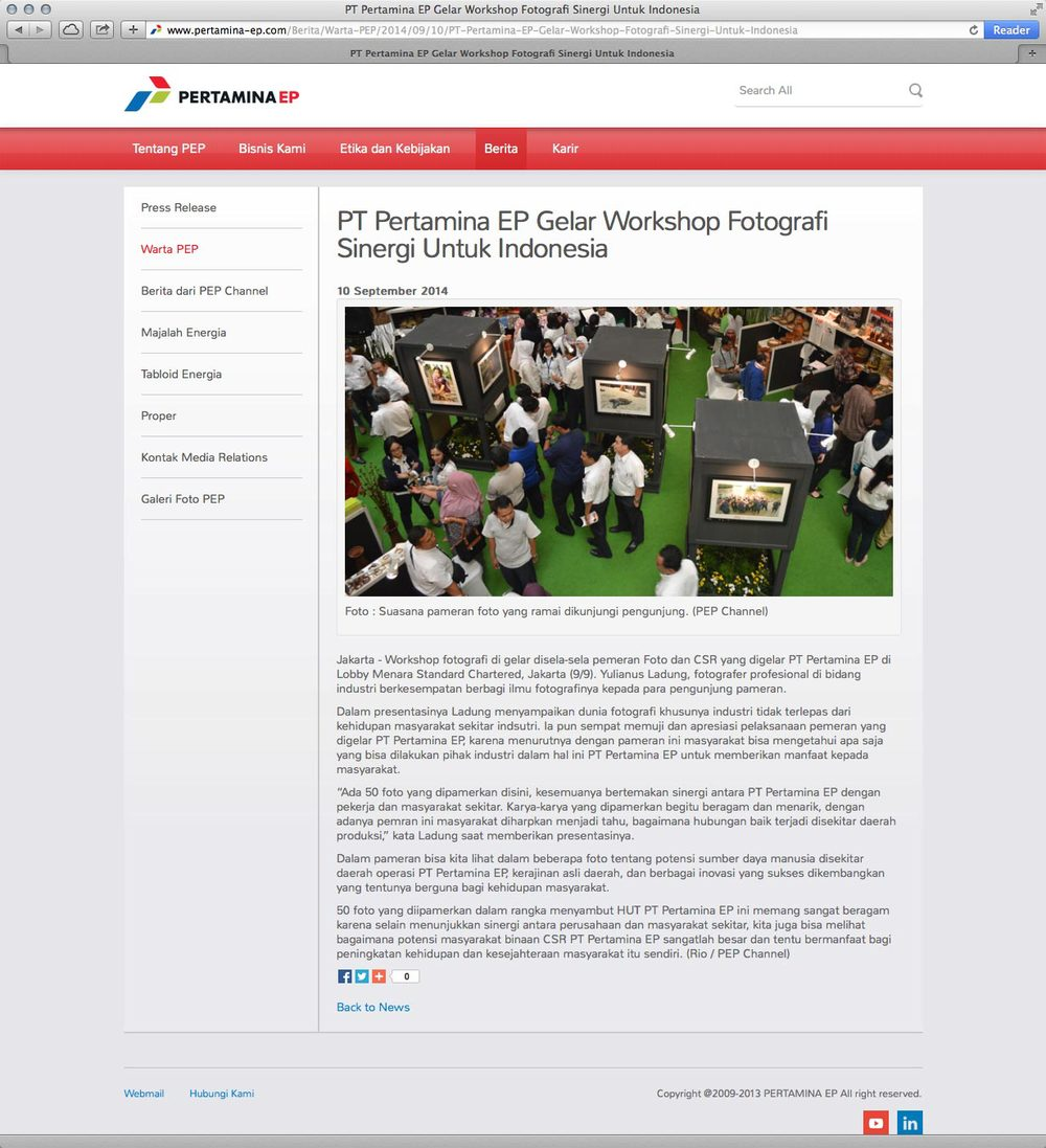 News coverage of Yulianus Ladung on PT. Pertamina EP's  website .