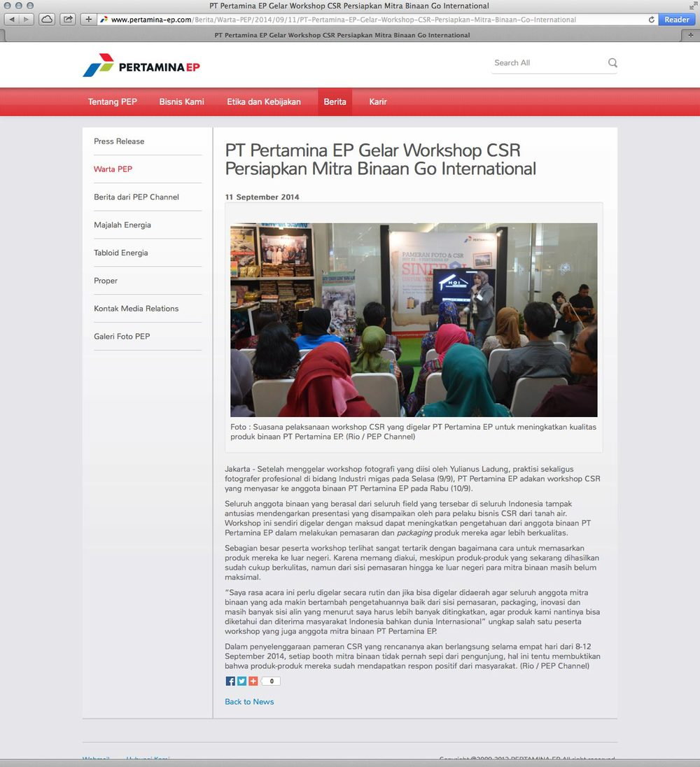 News coverage of Yulianus Ladung on PT. Pertamina EP  website .