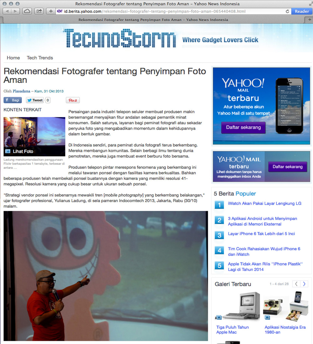 News coverage of Yulianus Ladung on  Yahoo! Tekno .