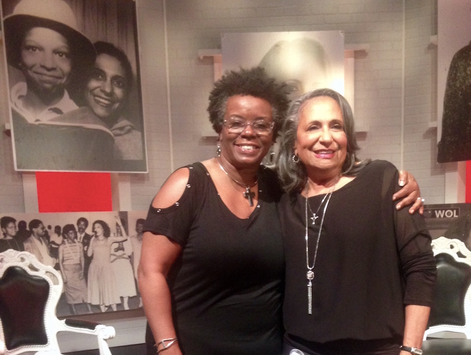 BEHIND THE SCENES: Urban media maven Cathy Hughes and Indigo's Executive Producer, Shellée Haynesworth on the interview set at WHUT Studio in Washington, DC, circa Oct. 12, 2016.