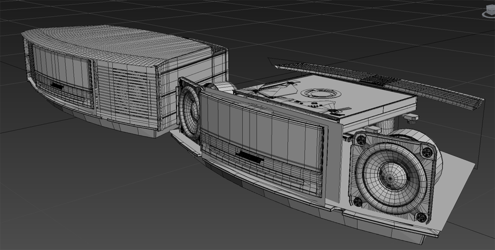 The CAD model was way too computationally heavy to use in production so I had to remodel the Bose Wave. I didn't save the CAD model so I could get a screen grab of it, but here's the finished cleaned up model that we used in production.